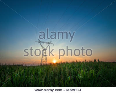 Power lines in green farm land with orange sunset and blue sky during summer - Stock Photo