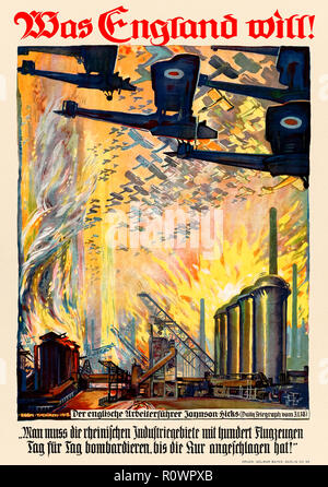 """'Was England Will!' (What England Wants) 1918 German World War I Propaganda poster showing British aircraft bombing a factory over a quote from William Joynson-Hicks (1865-1932)  published in the Daily Telegraph on 31 January 1918: """"One must bomb the Rhineland industrial regions with one hundred aircraft day after day, until the treatment has had its effect!""""Artwork by Egon Tschirch (1889-1948). - Stock Photo"""