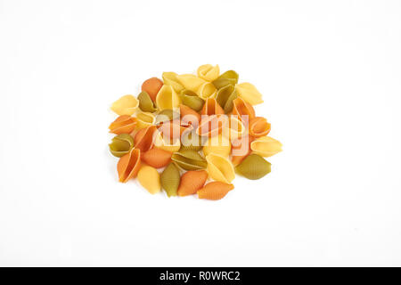Shell pasta on white background, top view. - Stock Photo