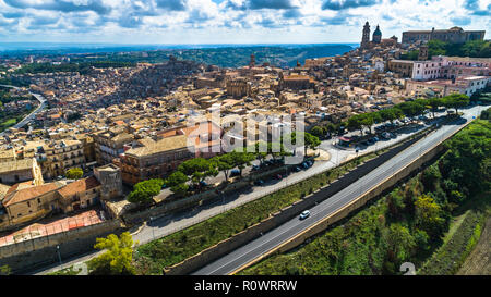 Aerial. Caltagirone  is a town and commune in the Metropolitan City of Catania, on the island of Sicily, southern Italy. - Stock Photo