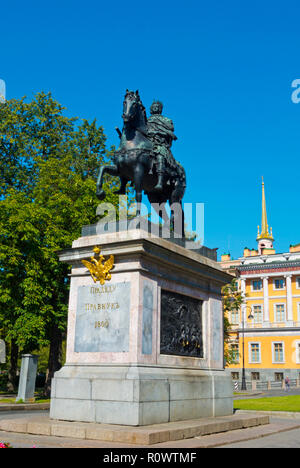 Monument to Peter the Great, in front of St Michael's Castle, Saint Petersburg, Russia - Stock Photo