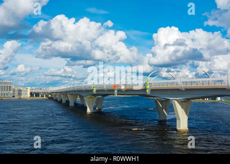3SD, Western high-speed diameter, bridge, toll road, at Krestovsky island, Saint Petersburg, Russia - Stock Photo