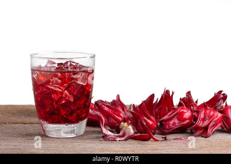 roselle mocktail drink with roselle fruits or Hibiscus sabdariffa on wooden isolated on white with clipping path .Jamaica sorrel . - Stock Photo