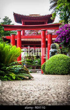 Torii in Monte Palace Tropican Garden in Funchal, Madeira island, Portugal