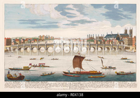 """""""A South View of Westminster Bridge"""".  After a print dated 1751.  Hand coloured.  Westminster Abbey behind the bridge on the right. - Stock Photo"""