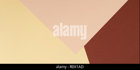 Color papers geometry composition background with yellow beige and brown tones - Stock Photo