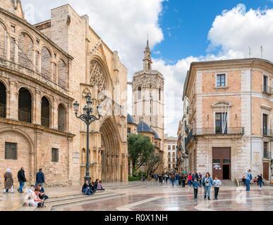 Miguelete Tower and Valencia Cathedral from Placa de la Mare de Deu (Plaza de la Virgen), Valencia, Spain - Stock Photo