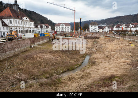 Bad Karlshafen, construction site in 2018, Upper Weser Valley,  Weser Uplands, Weserbergland, Hesse, Germany, Europe - Stock Photo