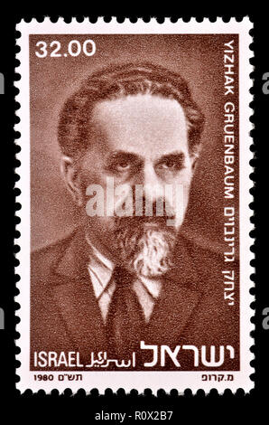 Israeli postage stamp (1980) : Yizhak Gruenbaum (1879-1933) leader of the Zionist movement among Polish Jewry in the interwar period and of the Yishuv - Stock Photo