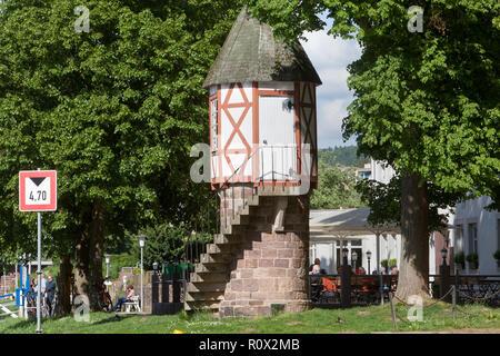 Old water depth gauge, Weser river, Bad Karlshafen,  Weser Uplands, Hesse, Germany, Europe - Stock Photo