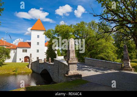 White castle Koluvere - saved medieval theasure of Estonia. Facade and a bridge - Stock Photo
