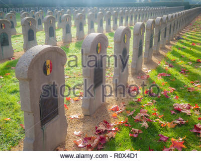 Sunlight cascading of rows of tomb stones belonging to Belgian soldiers who lost their lives during the second World War. - Stock Photo
