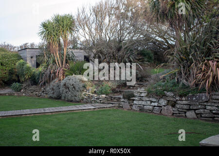 a side view of a tropical garden in winter - Stock Photo