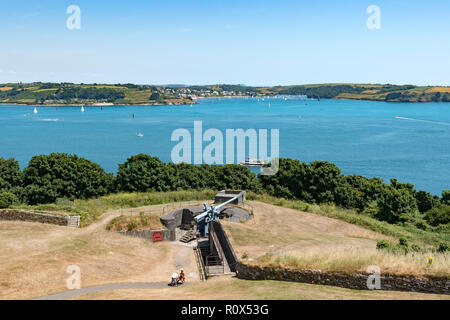 view to st.mawes, carrick roads, falmouth bay from pendennis castle, falmouth, cornwall, england, uk. - Stock Photo