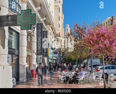 Cafe on Plaça de l'Ajuntament (Plaza del Ayuntamiento) in the city centre, Valencia, Spain - Stock Photo