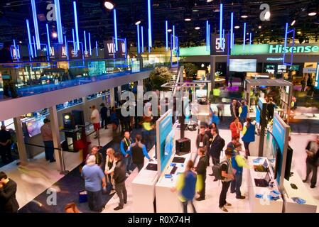 Intel exhibit booth, with demos and displays, at CES (Consumer Electronics Show), the world's largest technology trade show, held in Las Vegas, USA. - Stock Photo
