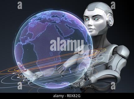 Cyborg holding the Earth's hologram in his hands. 3D illustration - Stock Photo