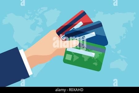 Vecotr of a businessman hand holding credit cards. - Stock Photo