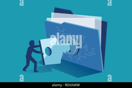 Cyber security digital file protection concept. Vector of man using security key to access digital file - Stock Photo