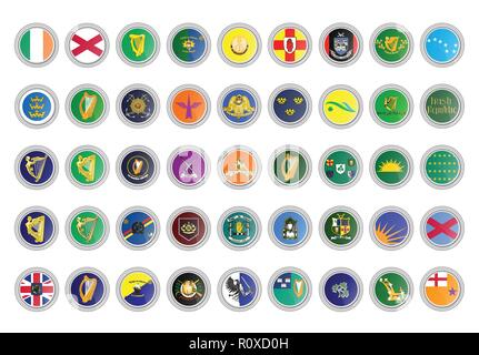 Set of vector icons. Republic of Ireland flags. 3D illustration. - Stock Photo