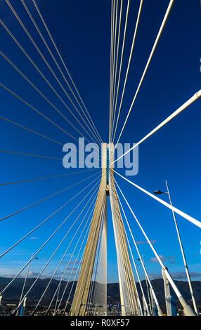 Rio–Antirrio-officially Charilaos Trikoupis-Bridge crossing the Gulf of Corinth and linking the  Peloponnese to mainlan Greece - Stock Photo