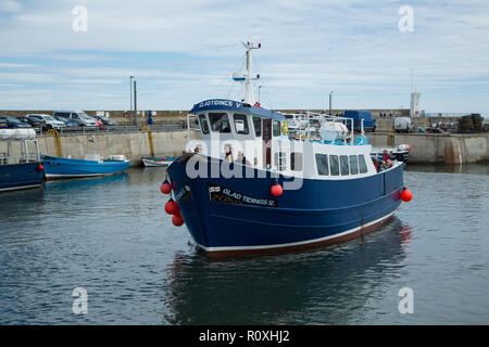 Glad Tidings Cruise Boat for the Farne Islands coming in to dock at Seahouses harbour, Seahouses village, Northumberland, UK - Stock Photo