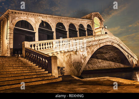 The Rialto bridge in details, side view at night - Stock Photo
