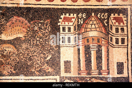 Mosaic floor with ancient byzantine natural stone tile mosaics with house in Umm ar-Rasas, archeological site in Jordan, Middle East. UNESCO world her - Stock Photo