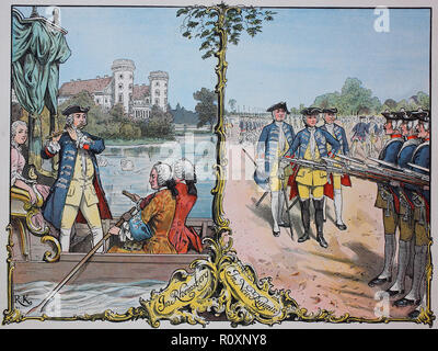 Digital improved reproduction, King Frederick the Great, Frederick II., Friedrich der Große, Friedrich II. 1712 - 1786 at Rheinsberg and Neu-Ruppin with the infantry - Stock Photo