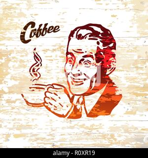 Vintage coffee men icon on wooden background. Vector illustration drawn by hand. - Stock Photo