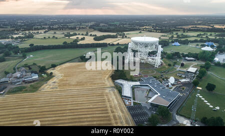 Aerial Shot Of Jodrell Bank Observatory Radio Telescope in Macclesfield Near Manchester in Cheshire - Stock Photo