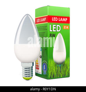 Energy savings LED lamp with cardboard box. 3D rendering isolated on white background - Stock Photo