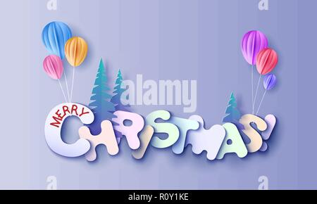 Merry Christmas lettering signature cut from paper and and color balloon. Vector illustration. Winter paper cut craft design. - Stock Photo