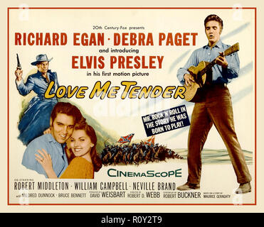 ELVIS PRESLEY  'Love me Tender' vintage movie poster 'Love Me Tender' is a 1956 song recorded by Elvis Presley and published by Elvis Presley Music from the 20th Century Fox film of the same name. The words and music are credited to Ken Darby under the pseudonym 'Vera Matson', the name of his wife, and Elvis Presley. The RCA Victor recording by Elvis Presley was no. 1 on both the Billboard and Cashbox charts in 1956. - Stock Photo