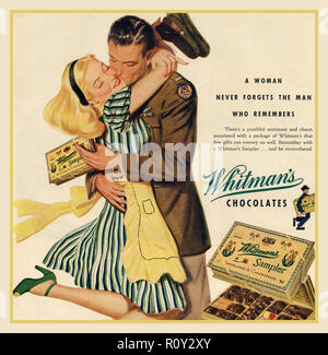 Vintage Chocolate Advertisement 1940's 'Chocolate is a Fighting Food!' – Chocolate bars in the Second World War with an American serviceman returning home from WW2 with a box of Whitman's chocolates ' A woman never forgets a man who remembers' USA - Stock Photo