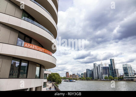 London England United Kingdom Great Britain Westminster Riverwalk Condominium Complex Thames River luxury apartments for sale waterfront balconies sky - Stock Photo
