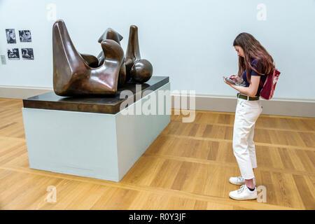 United Kingdom Great Britain England, London, Westminster, Millbank, TateBritain art museum, inside interior, gallery, Henry Moore sculpture, Working - Stock Photo