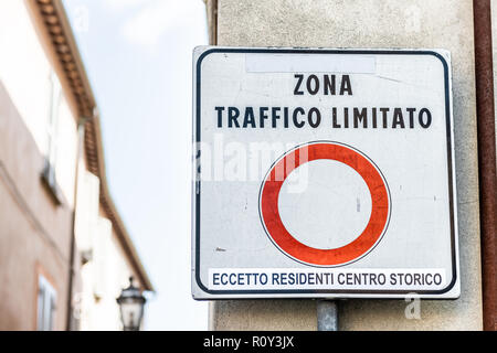 Zona Traffico Limitato, limited traffic zone sign in little, small Italian town restricting cars to historical, historic center of Orvieto, Italy - Stock Photo