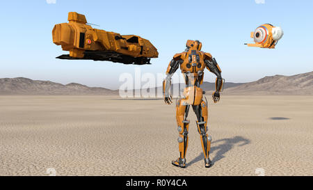 Cyborg worker with drone looking at flying spaceship, humanoid robot with spacecraft exploring deserted planet, mechanical android, 3D render - Stock Photo