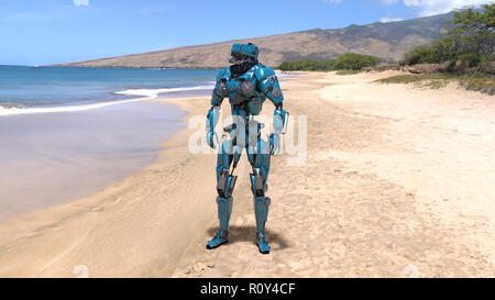 Cyborg, humanoid robot at beach with sea and mountains in the background, mechanical android, 3D render - Stock Photo
