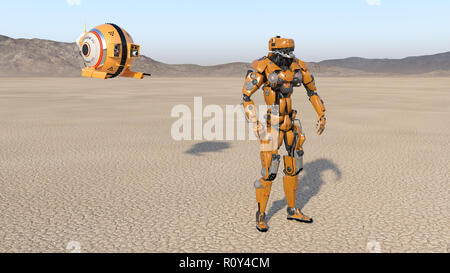 Cyborg worker with flying drone, humanoid robot with surveillance aircraft exploring deserted planet, mechanical android, 3D render - Stock Photo