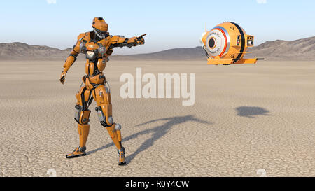Cyborg worker with flying drone pointing, humanoid robot with surveillance aircraft exploring deserted planet, mechanical android, 3D render - Stock Photo