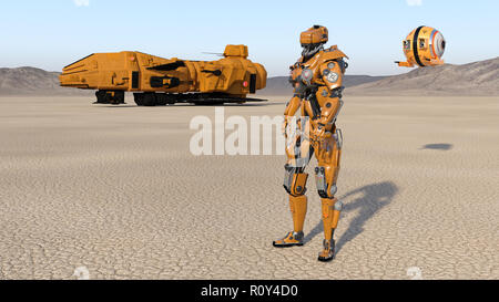 Cyborg worker with spaceship and drone, humanoid robot with spacecraft exploring deserted planet, mechanical android, 3D render - Stock Photo