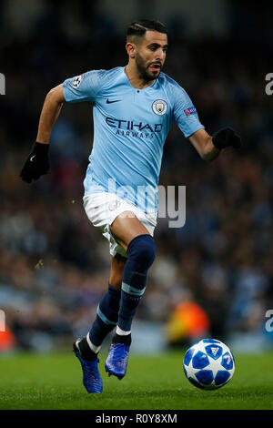 London, UK. 7th Nov 2018. Riyad Mahrez of Manchester City during the UEFA Champions League Group F match between Manchester City and Shakhtar Donetsk at the Etihad Stadium on November 7th 2018 in Manchester, England. (Photo by Daniel Chesterton/phcimages.com) Credit: PHC Images/Alamy Live News Stock Photo