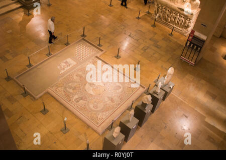 Beirut Lebanon. 8th November 2018. 'Mosaic of the Seven Wise Men',Baalbeck, 3rd c. AD. A few foreign visitors trickle to visit the National Museum of Beirut which houses antiquities form the Phoenician, Roman Byzantine and Ottoman Periods Credit: amer ghazzal/Alamy Live News - Stock Photo