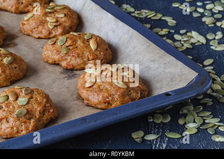 Fall snickerdoodle cookies with pumpkin and cinnamon overhead shot - Stock Photo