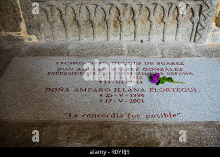 Tomb of Adolfo Suarez, former president of the Spanish government, in the Cathedral of Avila, Castilla y Leon, Spain, Europe - Stock Photo