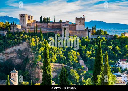Alhambra. Alcazaba from Mirador de San Nicolas. Granada, Andalucia, Spain, Europe. - Stock Photo