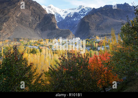 Autumn scene in Karimabad with mountains in the background. Hunza valley, Pakistan. - Stock Photo
