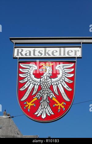 Sign Ratskeller, Frankfurt, Hesse, Germany, Europe  I Hängschild Ratskeller , Frankfurt am Main, Hessen, Deutschland, Europa I - Stock Photo